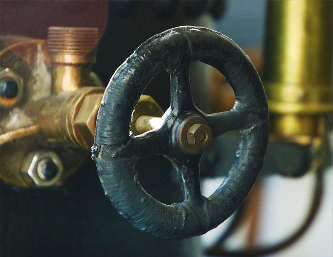 Metal Machinery Close-up Valve Steam Enginge Engine Parts Old Control Wheel