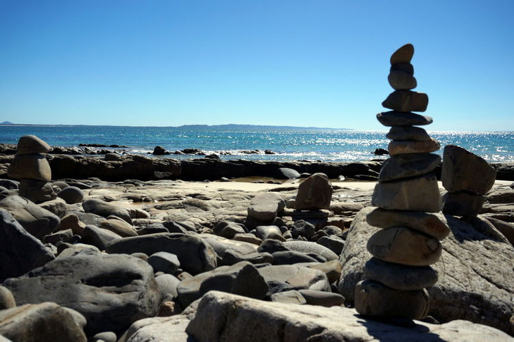 Australian Landscape Beach Beautiful Nature Beauty In Nature Clear Sky Day EyeEm Nature Lover Horizon Over Water Meditation Nature Noosa Outdoors Pebble Stack Pile Rock Pile Rocks Sea Sky Standing Rock Sunlight Water
