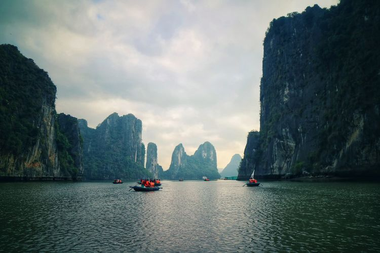 Ha Long Bay Kayaking Nature Photography Nature Wonderful Creation Of God Cruise Nautical Vessel Mountain Cliff Beauty Rock - Object Sky Travel River Rock Formation Boat First Eyeem Photo