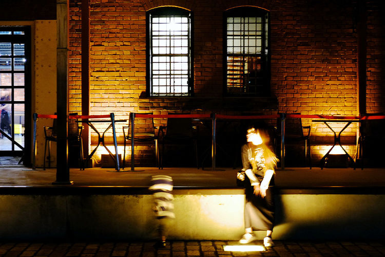 A mother and her child A Mother And Her Child Architecture Dancing Night Dark Lighting Equipment Nightphotography Yokohama Red Brick Store Yokohama, Japan