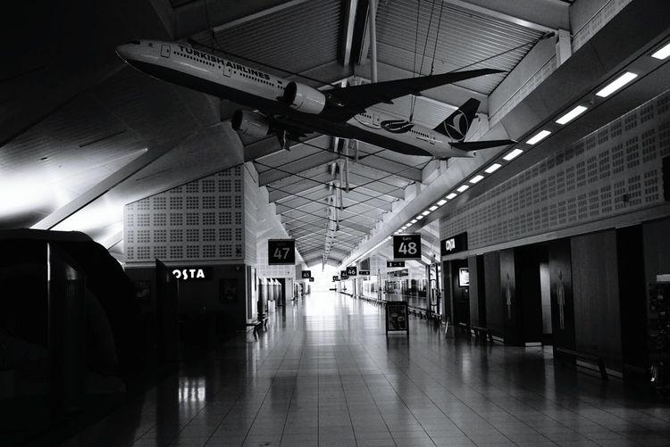 Interior of empty walkway