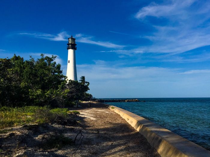 Key Biscayne lighthouse View Florida Water Sky Sea Architecture Built Structure Guidance Tower Lighthouse Nature Plant No People Day Building Exterior Cloud - Sky Blue Horizon Over Water