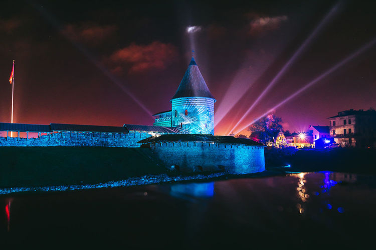 Lights, Kaunas Castle, Lithuania Architecture Building Exterior Built Structure City Festival Illuminated Light Beam Lights Festival Night No People Outdoors Reflections Sky Travel Destinations