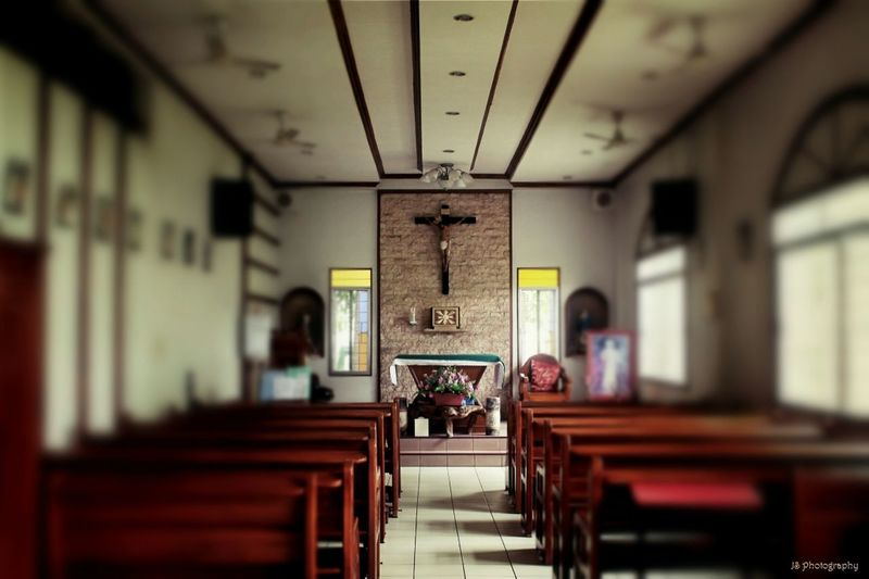 In a place of tranquility, peace, serene, prayer and fullness. Photo Taken: St. Joseph Golden Home Foundation - Chapel By: JM Sheng Camera: Canon DSLR 1100D Photo Editor: Fotor Calmness Of So Chapel Church Interior Empty House Of Prayer And Worship Indoors  Selective Focus Serenity