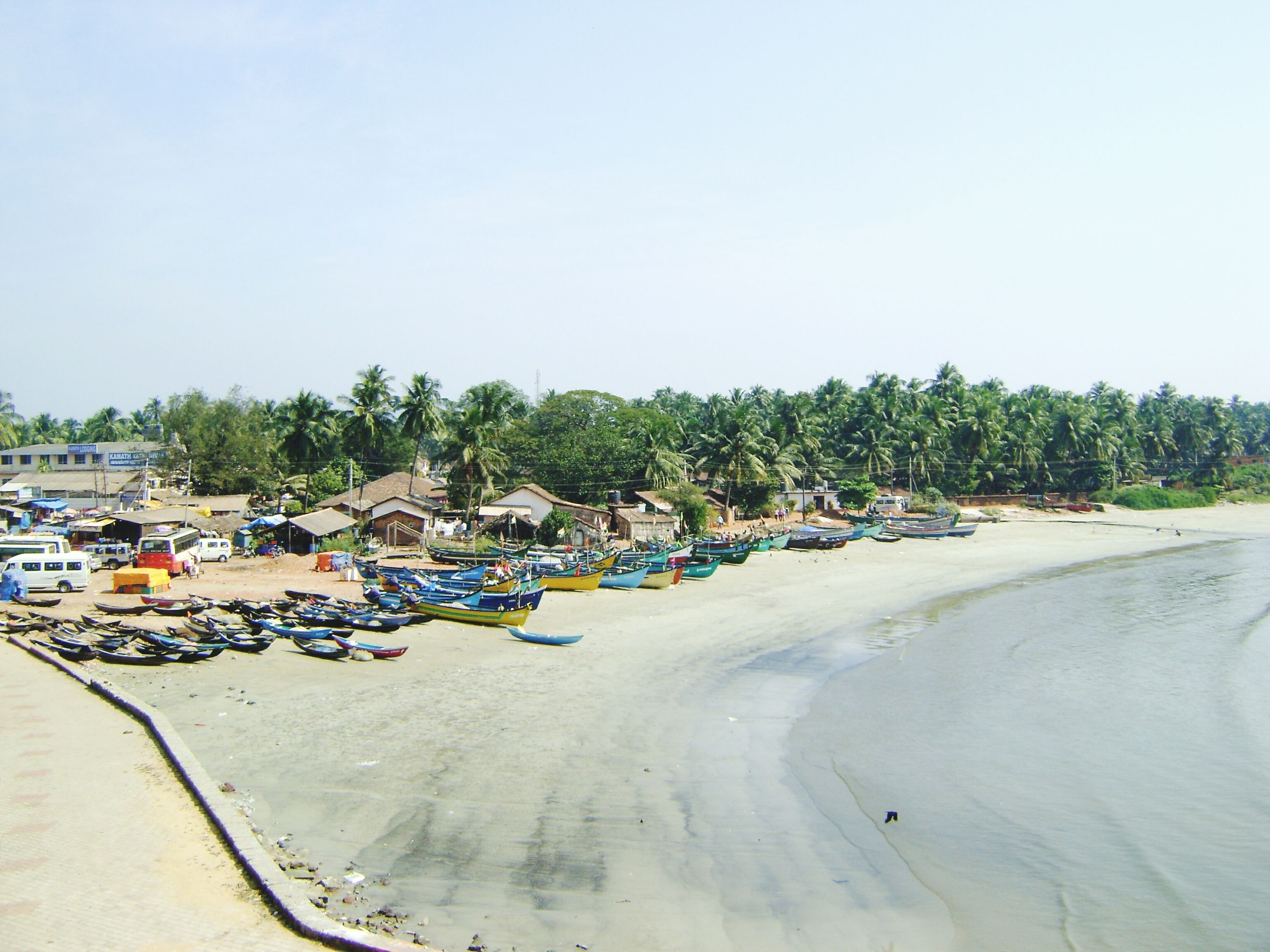 beach, sand, clear sky, copy space, transportation, shore, tranquility, tranquil scene, sea, nature, day, tree, in a row, sky, outdoors, water, scenics, beauty in nature, moored, no people