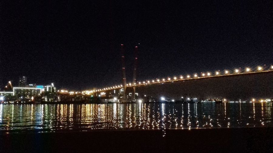 Night Illuminated Water Reflection River Sky Architecture Built Structure No People Bridge - Man Made Structure Outdoors