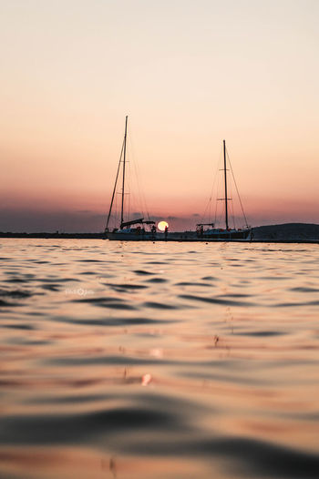Photpgrapher JuliaVidyapina JReshetnyаk Nikon D3200 Sand Landscape Outdoors Sun Backgrounds Vacations Sky Sea Beach Tranquil Scene No People Tranquility Horizon Over Water Nature Beauty In Nature Sunset Scenics Nautical Vessel Water Silhouette