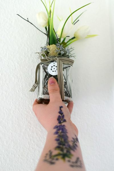 Easter Ready Spring awakening outside and inside. Spring Awakening Easter Decoration Flowers White Blossoms Flower Tattoo Tattoo Decoration Spring Decoration Colourful Tattoo Soft Colours Pastel Colors Green White Purple Girl With Ink Nature Tattoo Arm Tattoo White Background
