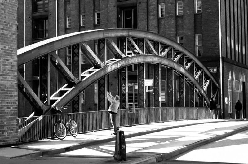 Blackandwhite Photography Bnw_collection Bnw_captures Bnw_life Tourist Taking Photos OnTheBridge Hamburgspeicherstadt ILoveMyCity Ilovephotography Hamburg
