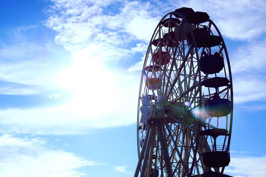 Ferris wheel at Tibidabo Barcelona Sky Low Angle View Amusement Park Arts Culture And Entertainment Leisure Activity Blue Cloud - Sky Day Ferris Wheel Outdoors Amusement Park Ride No People Big Wheel Barcelona