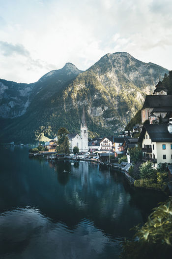 Scenic view over the famous Hallstatt Village, Austria Mountain Water Architecture Built Structure Building Exterior Sky Cloud - Sky Waterfront Mountain Range Building Nature No People Reflection Scenics - Nature Lake Beauty In Nature Day City Outdoors Hallstatt Salzkammergut Scenics Famous Place Lake View EyeEm Best Shots