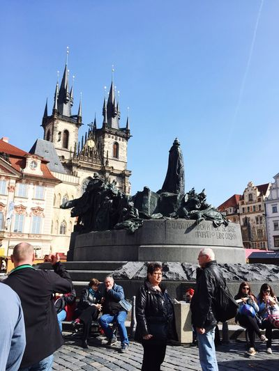 People by jan hus memorial at old town square