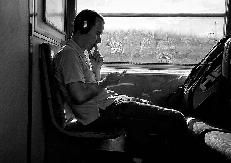 Blackandwhite Streetphotography AndroidPhotography Inthetrain