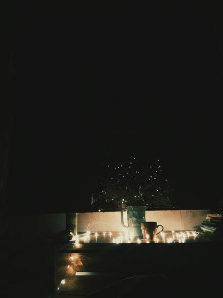 Night Lights Flower Llight Bling Bling Illuminated Black Background