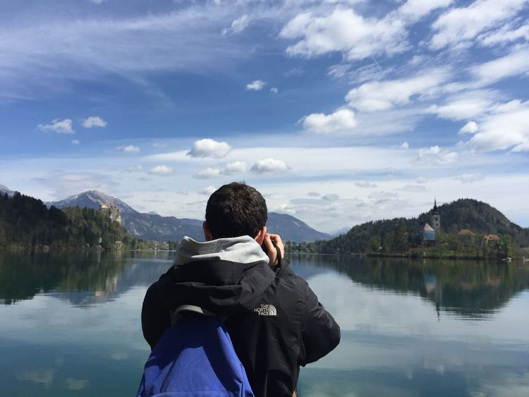 Beauty In Nature Blue Sky City Escape Day Iphone6 Lake Lake Bled Mountain Nature No Filter Outdoors Reflection Reflection Lake Sky Slovenia Taking Photos THE NORTH FACE Traveller Tree