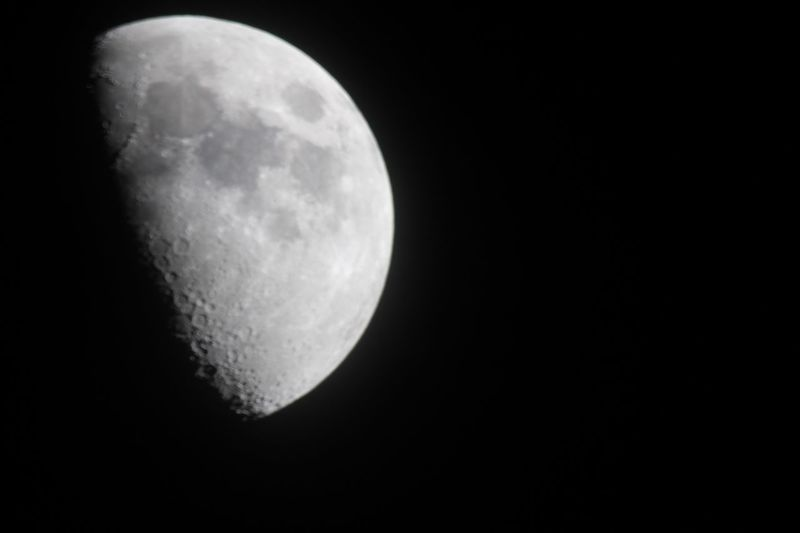 Quarter Moon Orion Telescope Canon EOS Rebel T5 Night Space Moon Astronomy Sky Moon Surface Beauty In Nature Half Moon