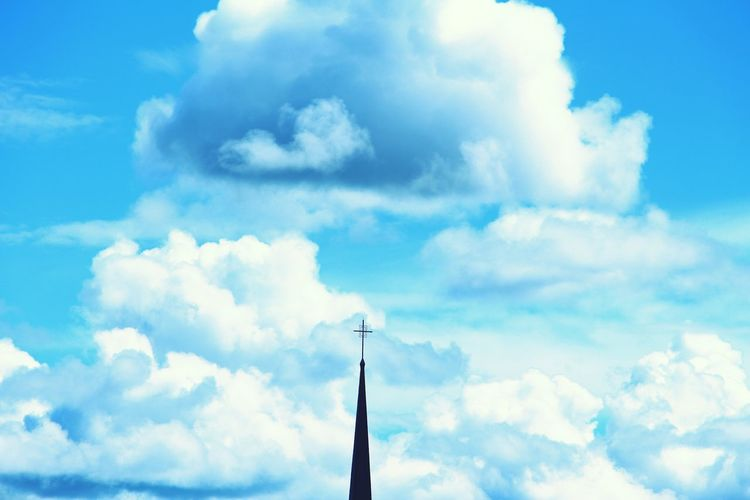 The steeple of a small church in my town Churches Clouds And Sky Clouds Cloudporn Sky Skyporn Cross Blue Blue Sky