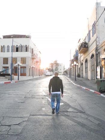 Sad and Lonley Man on the Street in Old Jaffa
