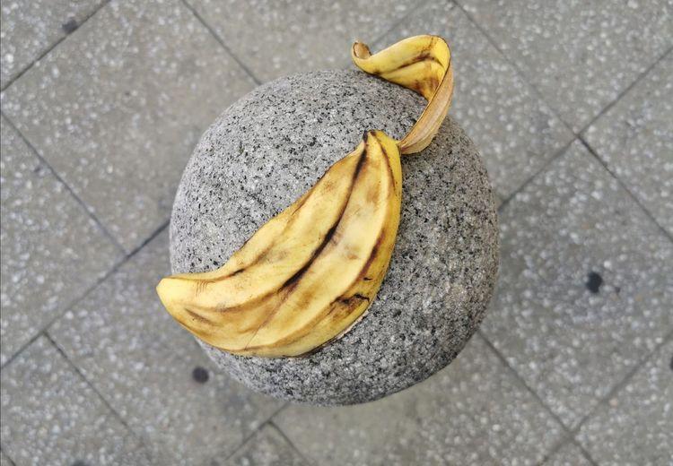 High angle view of bananas on street