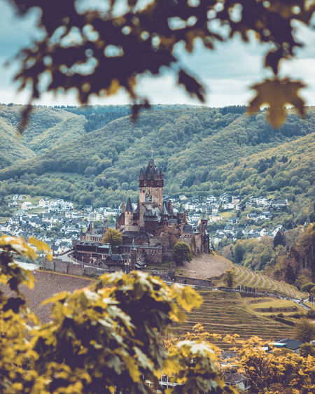 Areal view to city and castle of Cochem, Rheinland-Pfalz, Germany, May 2019 Germany Mosel Mosel Valley Architecture Built Structure Tree Building Mountain Building Exterior Nature Plant Day History Travel Destinations City The Past Outdoors No People Environment Residential District Landscape Tower Castle Cochem Castle Focus On Background Tree Leaf High Angle View
