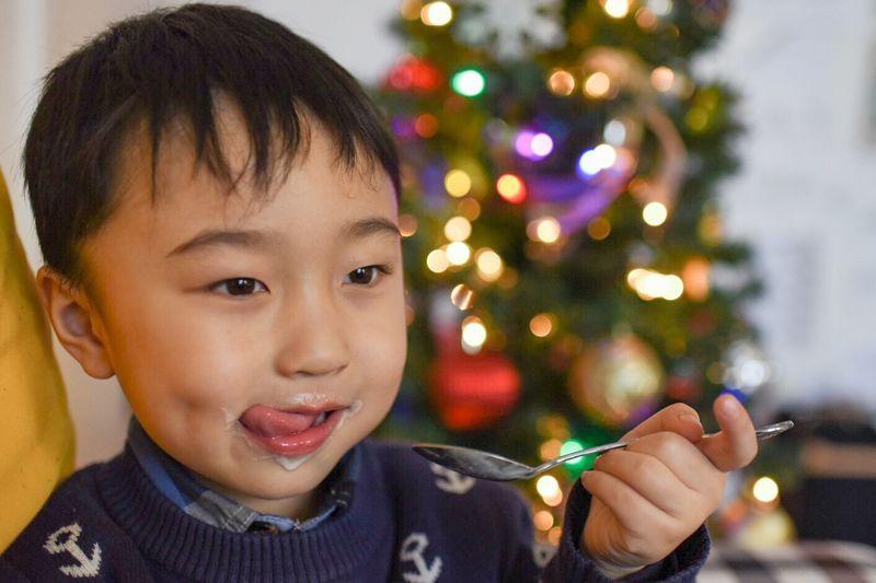 Enjoy Eating Enjoy The Yogurt Happy Satisfied  Satisfaction Kid Boy