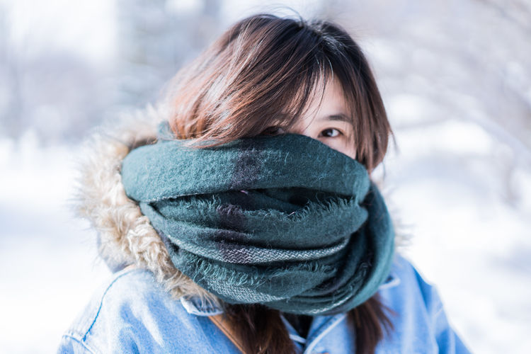 Japan Japan Photography Woman Adult Backpack Beautiful Woman Blue Body Part Clothing Cold Temperature Focus On Foreground Hairstyle Headshot Human Body Part Human Face Looking At Camera Nature Obscured Face One Person Outdoors Portrait Scarf Snow Swow Warm Clothing Winter Women Young Adult