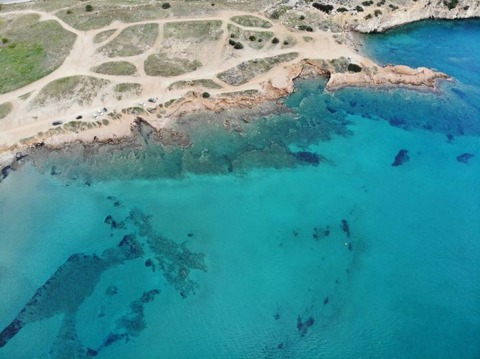 The Blue sea from above in Barkiza.(Greece). UnderSea Underwater Turquoise Colored