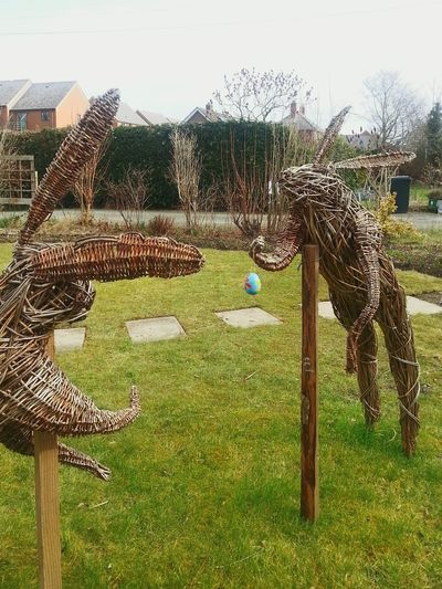 Rabbits Spring Eggs ... seed swap at Cultivate ... Culitev8 Garden Willow Community Garden Sculptures Wales