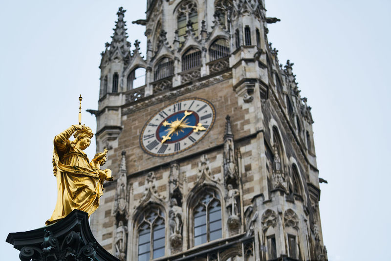 München Clock Travel Destinations Time Architecture Clock Tower Ornate History Munich Architecture Historical Rathaus Mariensäule Marienplatz Building Exterior No People Clock Face Low Angle View Bavaria Germany HighResolution High Resolution