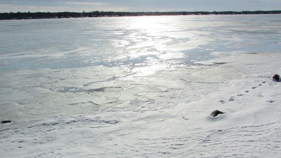 Outdoors Sunny☀ Wintertime Frozen Lake, Beautiful Day Lake Cadillac Pure Michigan