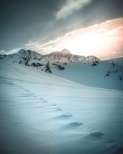 Mountain mood EyeEm Nature Lover Eyeemphotography Winter Cold Temperature Snow Beauty In Nature Scenics - Nature Mountain Sky Tranquil Scene Tranquility Idyllic Nature No People Non-urban Scene Cloud - Sky Day Powder Snow Landscape Snowcapped Mountain Mountain Range