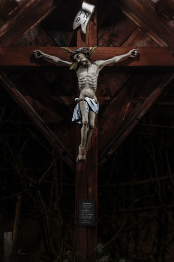 Abandoned Art Art And Craft Christianity Close-up Cross Hanging Human Representation Indoors  Jesus Jesus Christ Low Angle View Martyrs Night No People Obsolete Old Suffer Suffering Wood Wood - Material Wooden
