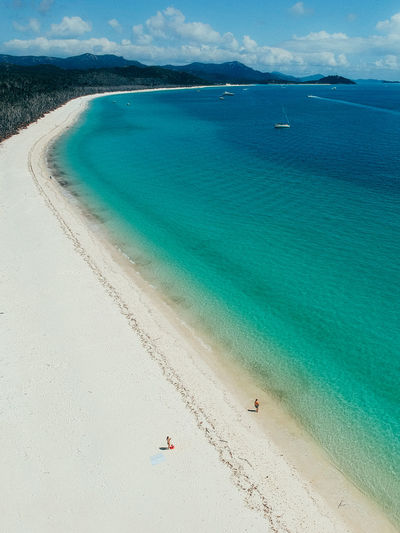 Water Land Beach Sea Scenics - Nature Beauty In Nature Sand Tranquility Day Nature Incidental People Tranquil Scene Sky Idyllic Holiday Trip Cloud - Sky Turquoise Colored Vacations Outdoors Whitsunday Islands Whitsundays Australia