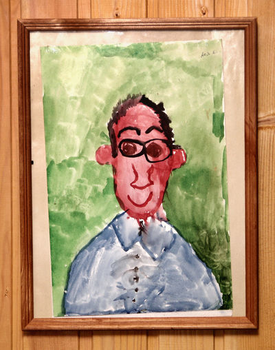 Adult Adults Only Child Painting Frame Human Body Part Human Face Indoors  Its Me One Man Only One Person Painted Image People Portrait Primitive Watercolor Watercolor Painting The Portraitist - 2017 EyeEm Awards