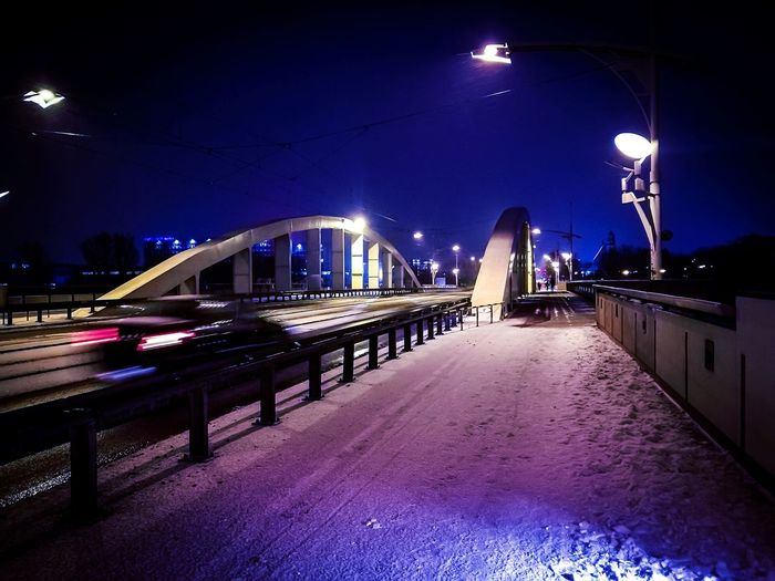 Snowy bridge. Wintertime Snow Snow ❄ Bridge - Man Made Structure Bridge Nightphotography The Week on EyeEm EyeEmNewHere HuaweiP9 Huaweiphotography EyeEm Best Shots Car Cars From My Point Of View Capture The Moment Night Illuminated Bridge - Man Made Structure City Architecture Street Light Outdoors Built Structure Sky Winter Nightlife Building Exterior Shades Of Winter The Graphic City Mobility In Mega Cities