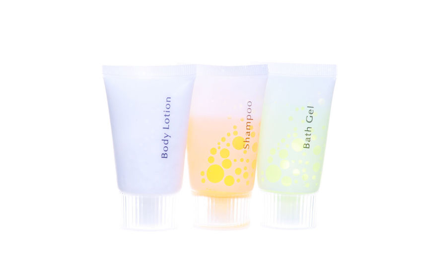 Hotel Amenities Isolated On White Amenities Amenity Bath Gel Beauty Body Lotion Equipment Hotel Personal Shampoo Small Travel Traveling Wash White Background