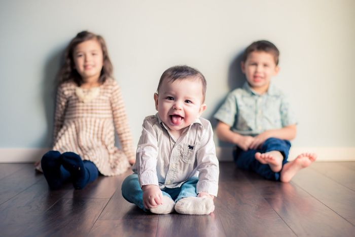 Who's the boss? Brothers And Sisters Three Kids Sister Brother Six Months Boss Baby Shallow Depth Of Field Bokeh Family With Three Children EyeEm Selects Indoors  Sitting Looking At Camera Baby Casual Clothing Family Togetherness Childhood Hardwood Floor Front View Daughter Home Interior Full Length Portrait Happiness Sibling Cute Domestic Life