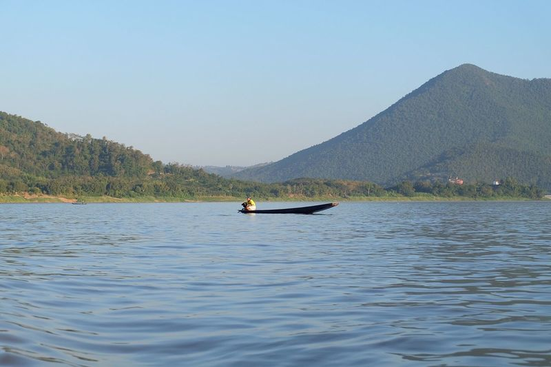 Beauty In Nature Nature Water Mountain Clear Sky River Sky Blue Sky Green Boat Loei Thailand