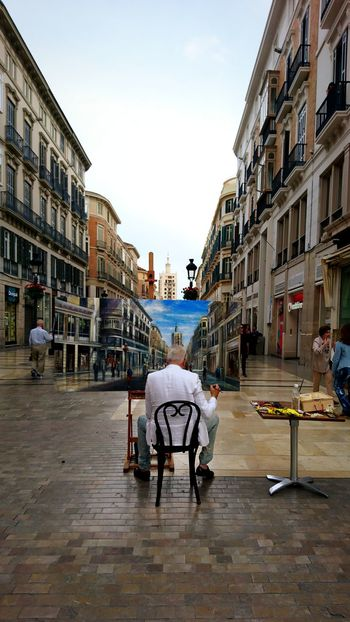 Architecture Building Exterior Full Length City Life Adult City Travel Destinations Built Structure Day People Outdoors Sky Art Picture Málaga,España Drawing