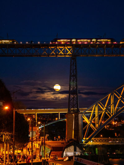 Transportation Night Architecture Illuminated Built Structure Sky Connection Bridge Bridge - Man Made Structure Nature Engineering Outdoors Low Angle View Cloud - Sky Dusk Water Mode Of Transportation Suspension Bridge City Steel Alloy