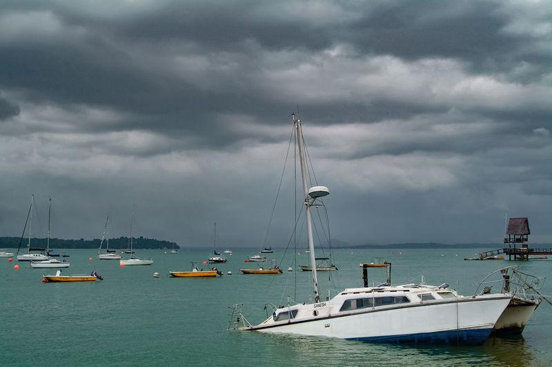 Sunken Boat At Sea