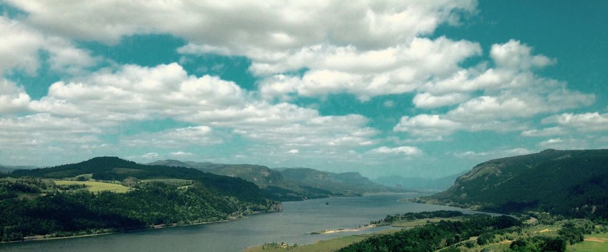 Scenic view of columbia river gorge against sky