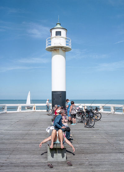 Beach Blue Direction Horizon Over Water Large Group Of People Lighthouse Live For The Story Outdoors Real People Sea Sky Summer Summertime Sunny Vacations Water