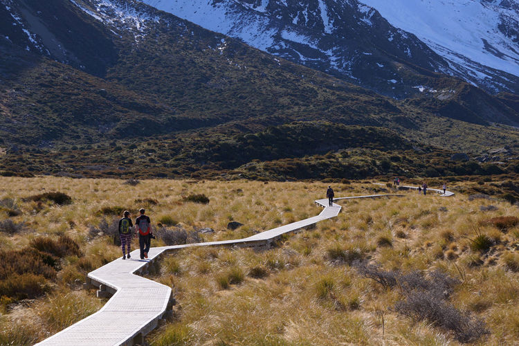 People walk on the wooden walkway trek to Mount Cook with beautiful scenery Adult Adults Only Beauty In Nature Day Full Length Hiking Landscape Mountain Mountain Range Mountain Road Nature One Person Outdoors People Photographing Real People Road Scenics Sky The Way Forward Tranquil Scene Tranquility Travel Destinations Winding Road Women