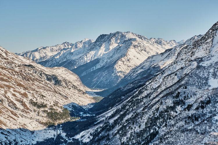 Winter mountain landscape of the elbrus region. baksan gorge, kabardino-balkaria, russia.