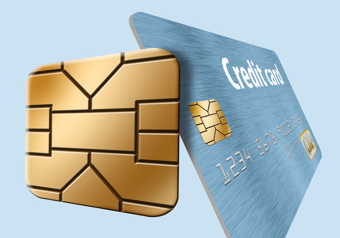 An EMV security chip is prominent in this illustration of a credit card. EMV Chip Business Chip Close-up Credit Credit Card Empty Gold Colored No People Security Chip