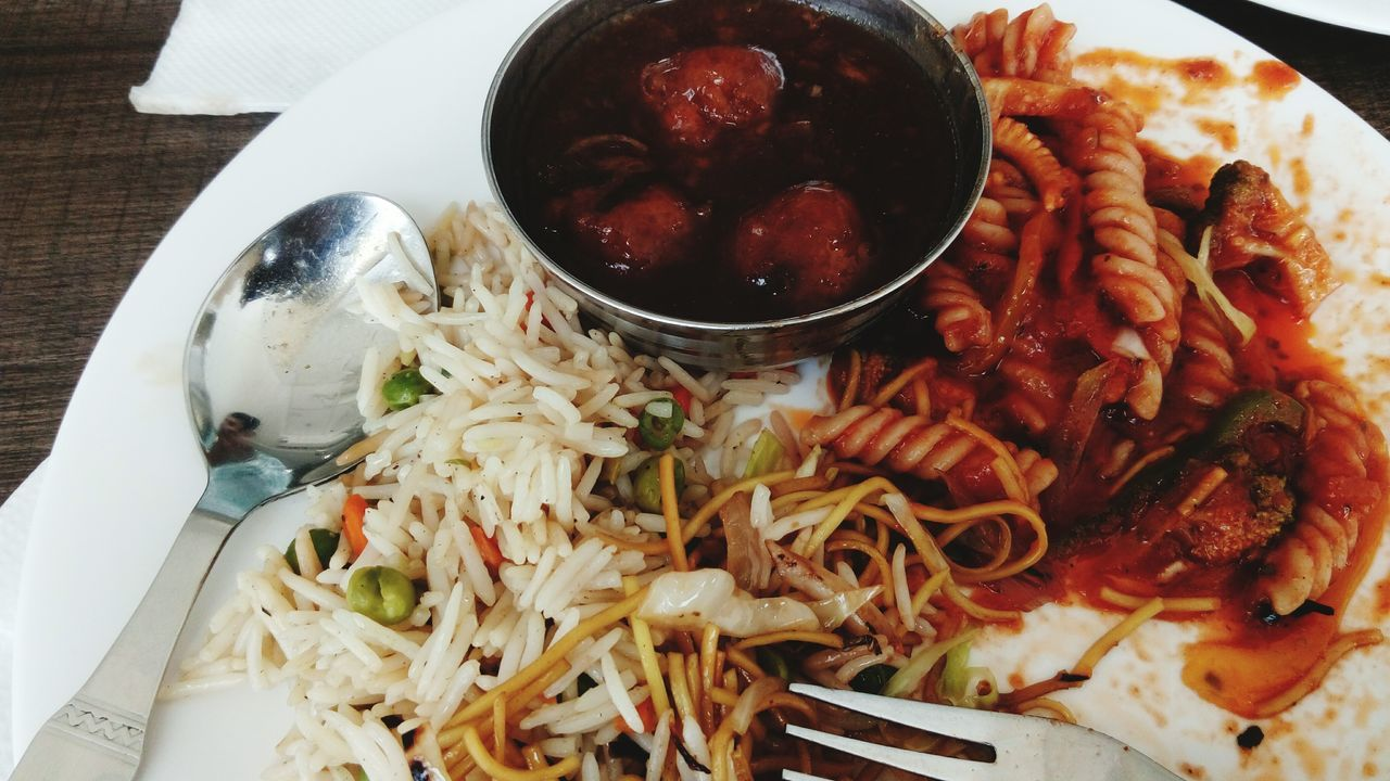 food and drink, food, ready-to-eat, freshness, healthy eating, serving size, indoors, bowl, plate, no people, table, close-up, high angle view, indulgence, temptation, fried rice, day