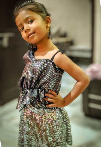 Portrait Child Beauty Beautiful People Childhood Looking At Camera Standing Smiling Fashion Model Girls Cocktail Dress Hand On Hip Society Beauty Posing Sleeveless Dress Disco Lights Clubbing Disco Dancing Music Concert Evening Wear Ceremonial Make-up Sleeveless  Moms & Dads International Women's Day 2019 My Best Photo