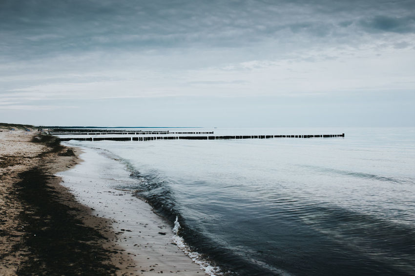 Baltic Sea Moody Sky Ostsee Schilf Beach Beauty In Nature Cloud - Sky Horizon Horizon Over Water Land Mood Nature No People Outdoors Pier Sand Scenics - Nature Sea Seascape Sky Tranquil Scene Tranquility Water