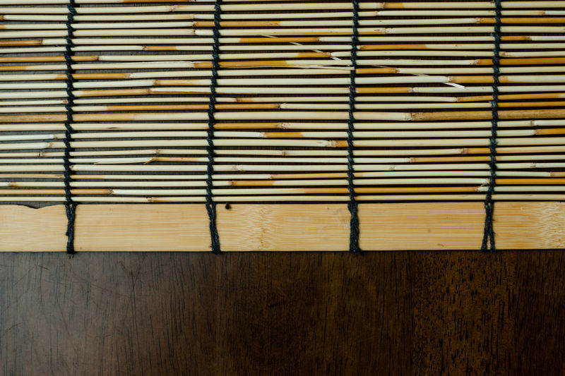 Directly above shot of place mat on wooden table